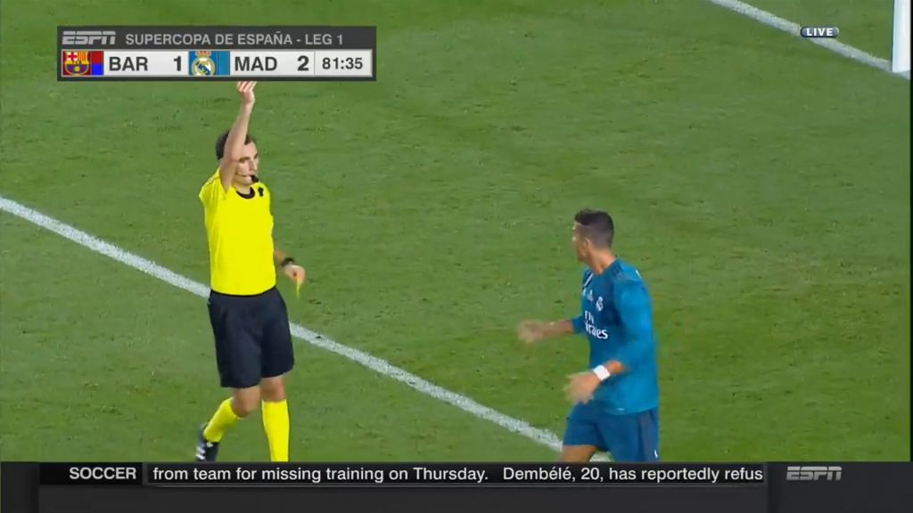 Ronaldo is red carded after a dive