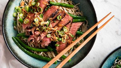 "Recipe:&nbsp;<a href=""http://kitchen.nine.com.au/2017/06/05/15/52/beef-soba-noodle-bowl-with-green-beans"" target=""_top"">RecipeTin Eats beef soba noodle bowl with green beans</a>"