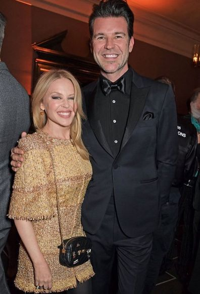 Kylie Minogue and Paul Solomons attend the BFI Chairman's dinner awarding Tilda Swinton with a BFI Fellowship at Rosewood London on March 2, 2020 in London, England