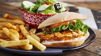 Nando's chicken pitta with chips or salad