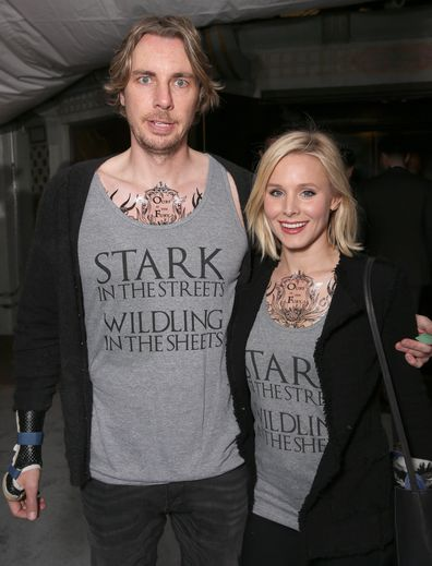 Dax Shepard and Kristen Bell in matching Game of Thrones outfits for the season six premiere in Hollywood, 2016