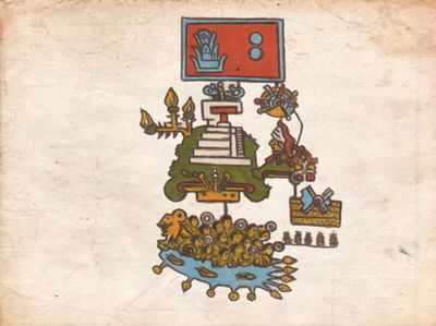 Pictogram representing an earthquake which took place in Mexico around 1507
