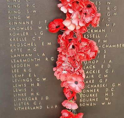 Visiting a war memorial on Anzac Day.