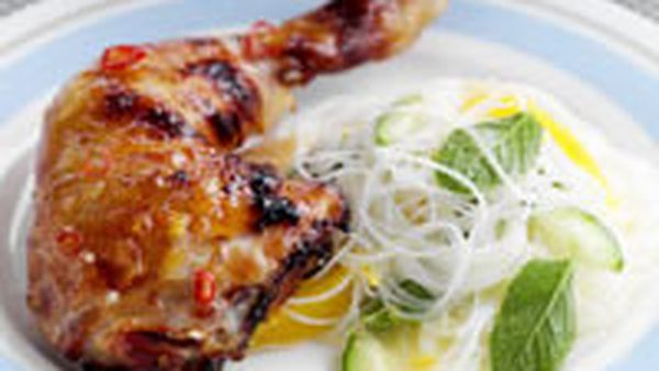 Citrus chicken with vermicelli salad