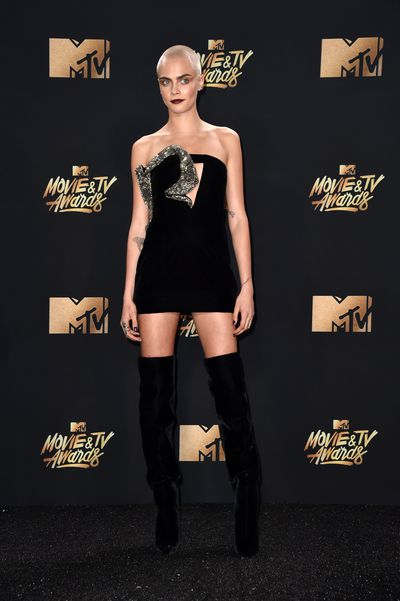 Cara Delevingne in Yves Saint Laurent at the 2017 MTV Movie & TV Awards in Los Angeles