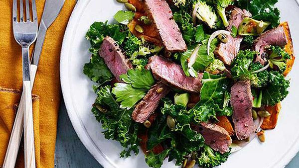 Spiced beef, pumpkin and kale salad