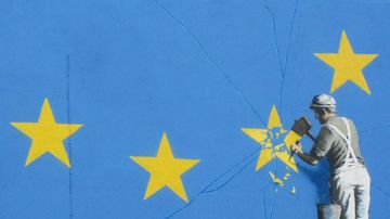 Graffiti artist Banksy has unveiled a new artwork believed to be a political statement against Brexit. (Instagram)