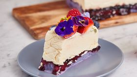 Frozen white chocolate and blueberry crumble cake