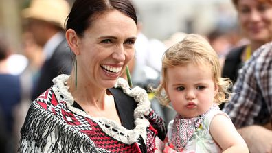 Jacinda Ardern and daughter Neve.