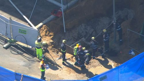 The man fell into a four-metre trench at Mosman Park.