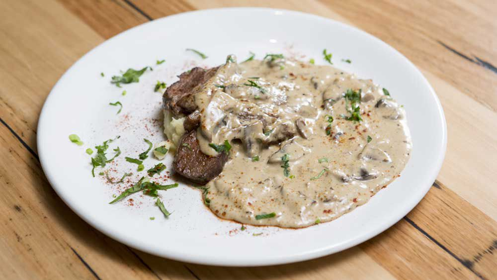 The Shahrouk's roast lamb with mushroom gravy