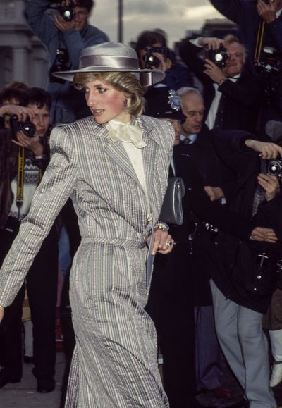 Princess Diana leaving the wedding of her former flatmate Anne Bolton, in Chelsea, London on October 28, 1983