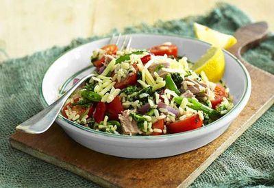 """Recipe: <a href=""""https://kitchen.nine.com.au/2016/05/04/15/27/weight-watchers-breakfast-bruschetta"""" target=""""_top"""">Spinach and tuna rice salad</a>"""