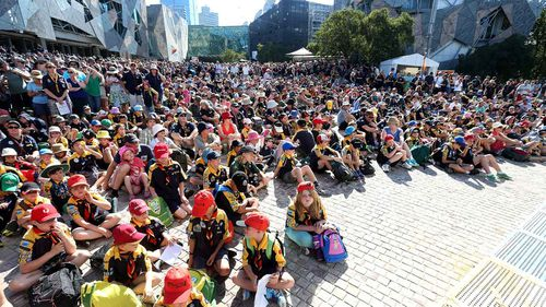 Scouts gathered in Federation Square in Melbourne.