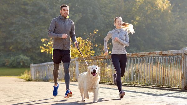 Man and woman running with dog on lead
