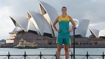 Stephanie Talbot in the Australian women's basketball team Olympics uniform. (AAP)