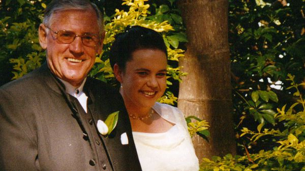 Sandie and her beloved Dad on her wedding day.