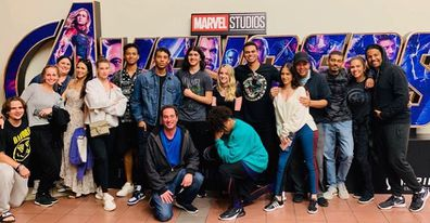 Prince Jackson and Blanket Jackson watch Avengers: Endgame