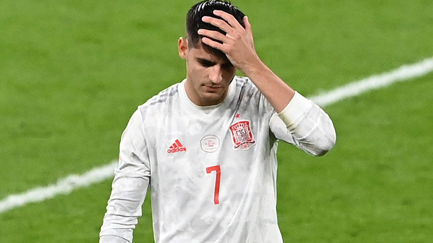 Alvaro Morata was devastated after missing the decisive penalty as Italy progressed to the EURO final.