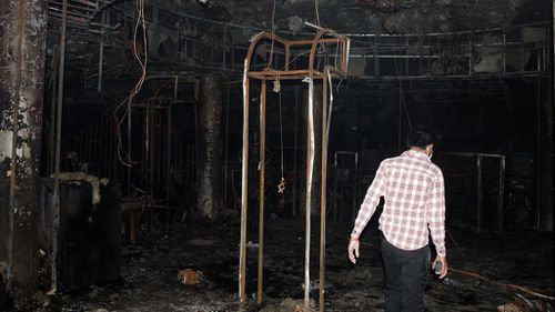 The interior of the nightclub after the blaze. (AFP)