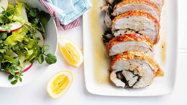 Roast herbed turkey roll with Meyer lemon mayonnaise