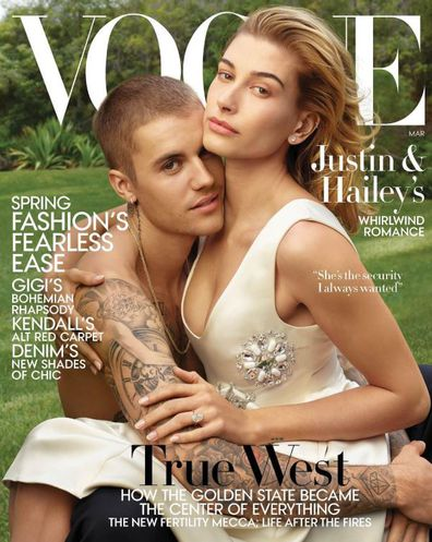 Justin Bieber and Hailey Baldwin in 'Vogue'.