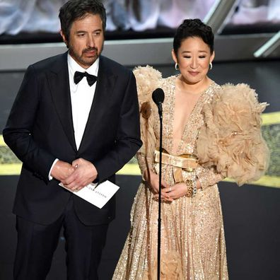 Ray Romano and Sandra Oh speak onstage during the 92nd Annual Academy Awards at Dolby Theatre on February 09, 2020 in Hollywood, California.