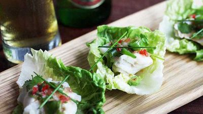 """<strong>Recipe:<a href=""""http://kitchen.nine.com.au/2017/03/23/10/03/tsingtao-beer-poached-fish-cups"""" target=""""_top"""">Tsingtao beer poached fish cups</a></strong>"""