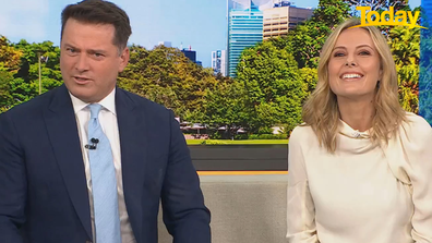 The moment Karl Stefanovic noticed his socks had been acquired.