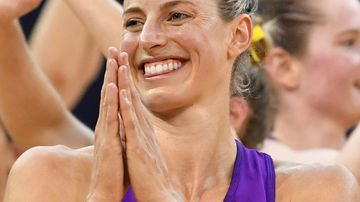 Laura Geitz (centre) of the Firebirds celebrates after the team's win in the Round 5 Super Netball match between the Queensland Firebirds and the West Coast Fever at the Brisbane Entertainment Centre in Brisbane, Saturday, May 26, 2018.