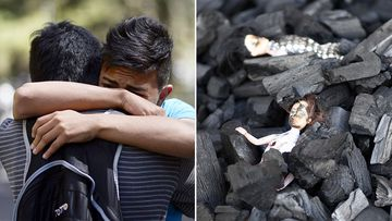 A survivor of the fire embraces a relative outside the children's shelter Virgen de la Asuncion after a fire at the facility killed at least 19 people, in San Jose Pinula, about 30 km east of Guatemala City, on March 8, 2017. (AFP)
