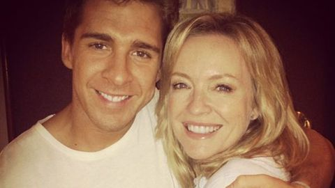 Hugh Sheridan and Rebecca Gibney on the set of Packed to the Rafters