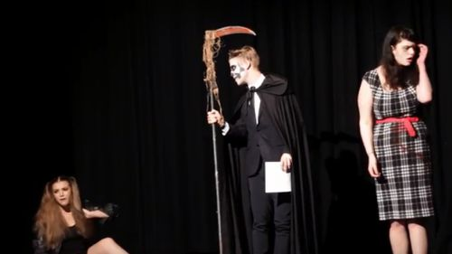 Ms Dixon (far right) performing in a play last year. (RMIT via YouTube)