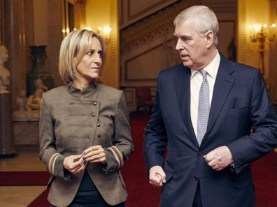 Emily Maitlis from BBC Newsnight walking with Prince Andrew ahead of their sit-down interview whcih received negative backlash.