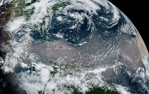 Saharan dust storm sweeping over the Caribbean