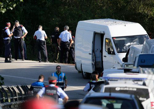 Police in Subirats, west of Barcelona, after shooting dead Younes Abouyaaqoub near a vineyard.