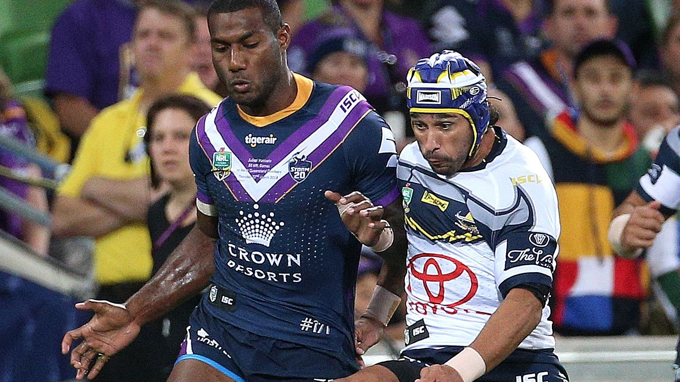 Melbourne Storm star Suliasi Vunivalu bombs certain tries in match against North Queensland Cowboys