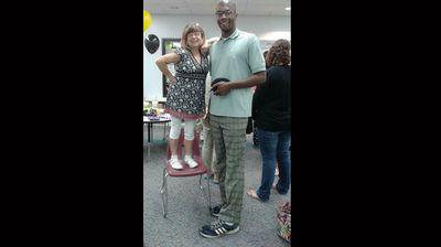 """""""I'm a 4'11"""" special ed teacher and he is a 6'9"""" 3rd grade teacher."""" (Facebook: Jennifer Isaac Kerns)"""