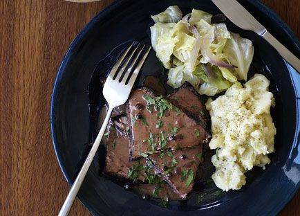 Beef Sauerbraten with parsley mash and cabbage