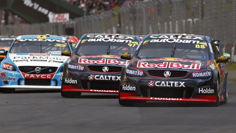 Jamie Whincup and Shane van Gisbergen in action in New Zealand. (AAP)