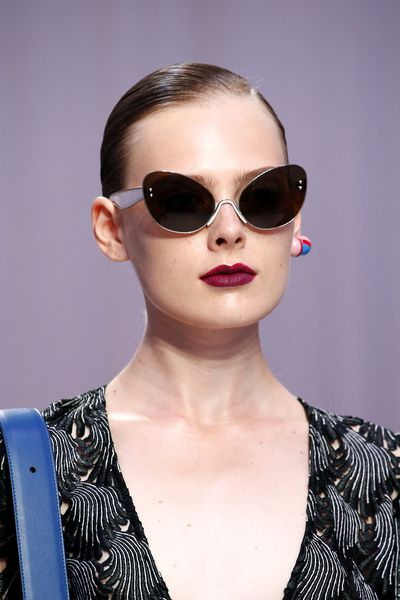 Matte magenta lipstick at Marco de Vincenzo, Milan Fashion Week, Spring/Summer 2017.
