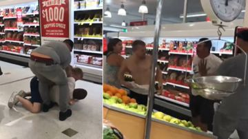 Coles shopper films violent brawl between two men in aisle