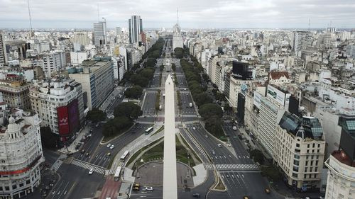 The 9 de Julio Boulevard almost devoid of traffic during the return to a strict lockdown  in Buenos Aires, Argentina,  July 1, 2020.