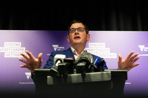 Premier Daniel Andrews addresses media over the second wave coronavirus surge which has hit Victoria in June and July.