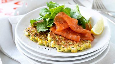 """<a href=""""http://kitchen.nine.com.au/2017/05/09/14/41/sweet-corn-and-coriander-fritters-with-smoked-salmon"""" target=""""_top"""">Sweet corn and coriander fritters with smoked salmon</a><br /> <br /> <a href=""""http://kitchen.nine.com.au/2016/08/01/13/10/fast-fritter-recipes-for-easy-vegetable-loaded-snacking"""" target=""""_top"""">More healthy fritter recipes</a>"""
