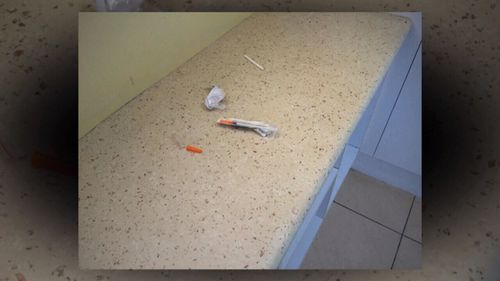 Syringes in the Honsas' house.