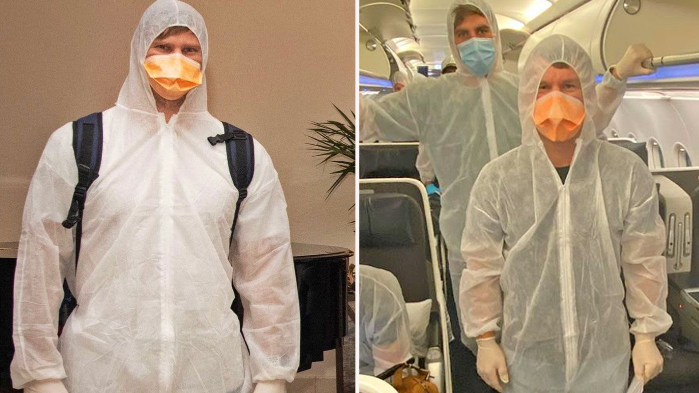 Steve Smith and other Aussies arrive in UAE for IPL in hazmat suits