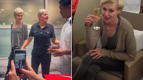 Ellen's blinged-out flight to Oz: private jet, monogrammed sheets, celebrity chef!