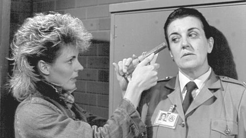 Top Dog Lou (Louise Siverson) and 'The Freak' (Maggie Kirkpatrick) in a tense moment during Prisoner.