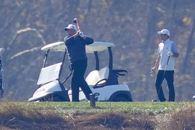 President Donald Trump plays a round of Golf at the Trump National Golf Club in Sterling, Virginia